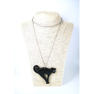 Black cat necklace with chain