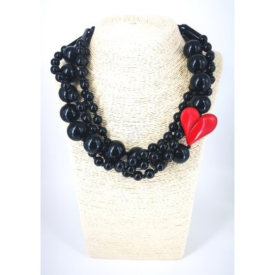 Set necklace torchon with heart
