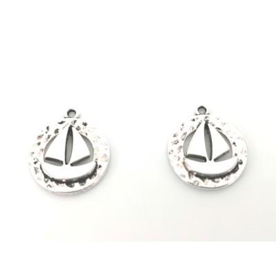 Sail boat steel charm