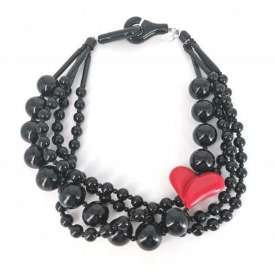 Set collana torchon cuore rosso