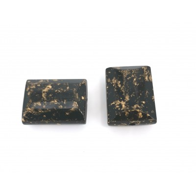 RECTANGLES IN GOLD AND BLACK RESIN